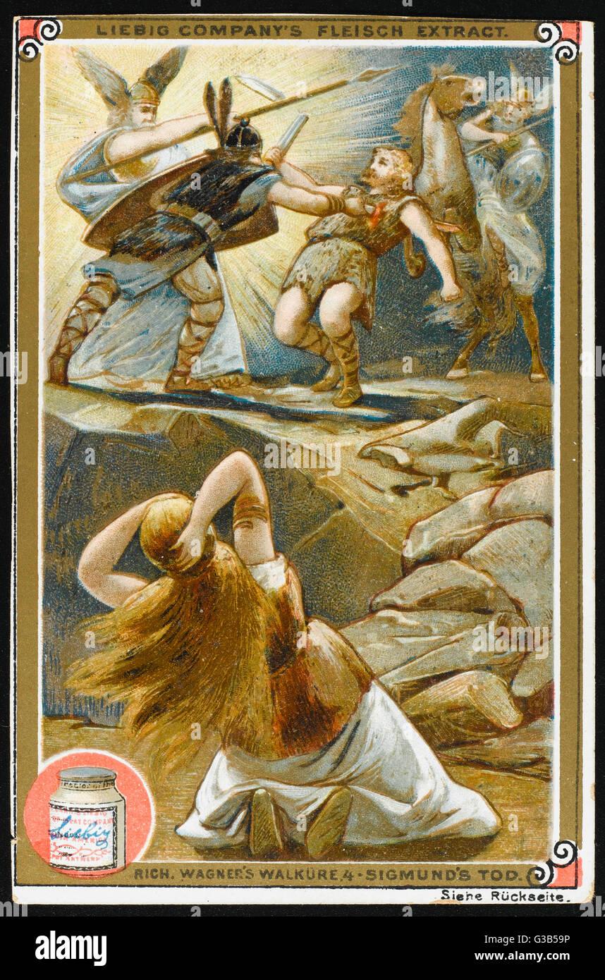 The death of Sigmund :  Siglind is desperate - Stock Image