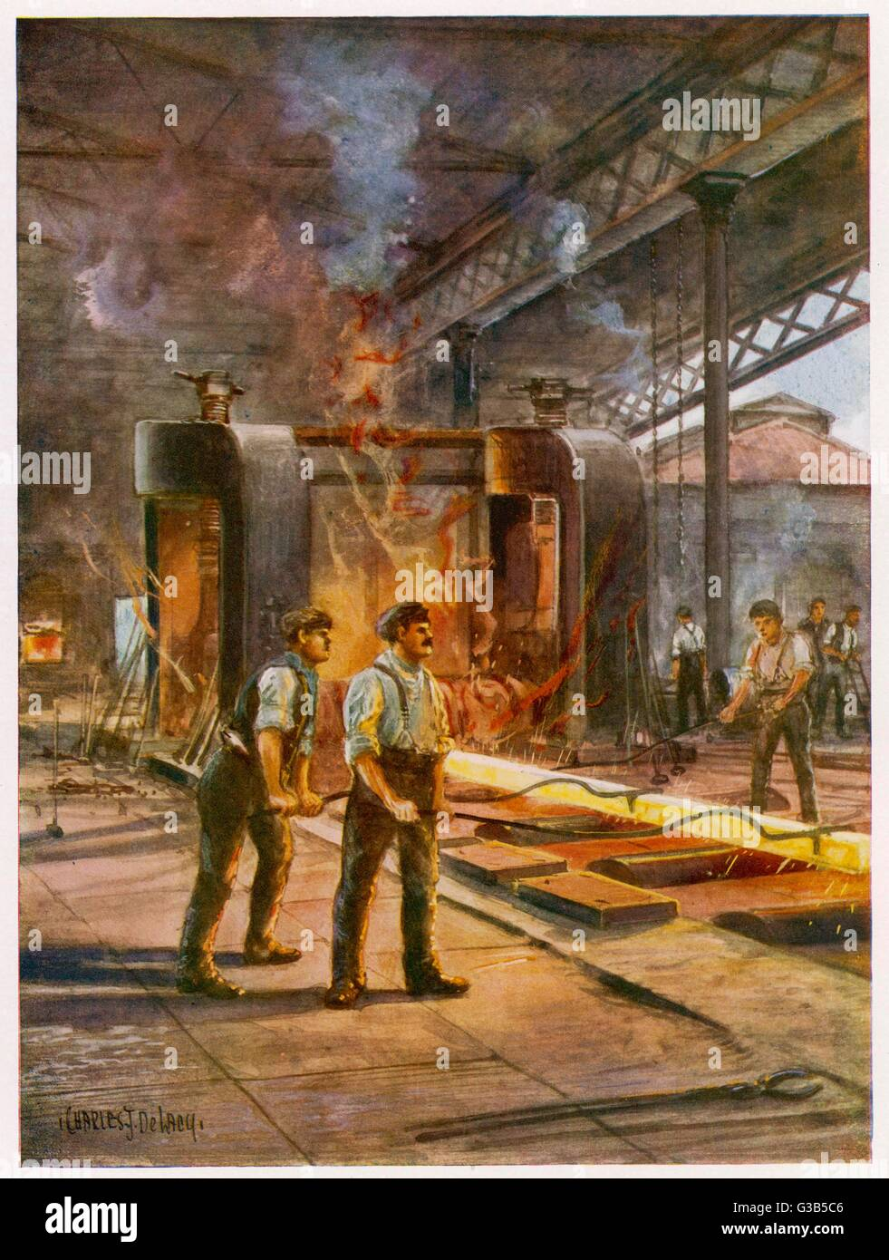 Rolling steel in a British  steelworks         Date: 1914-1918 - Stock Image