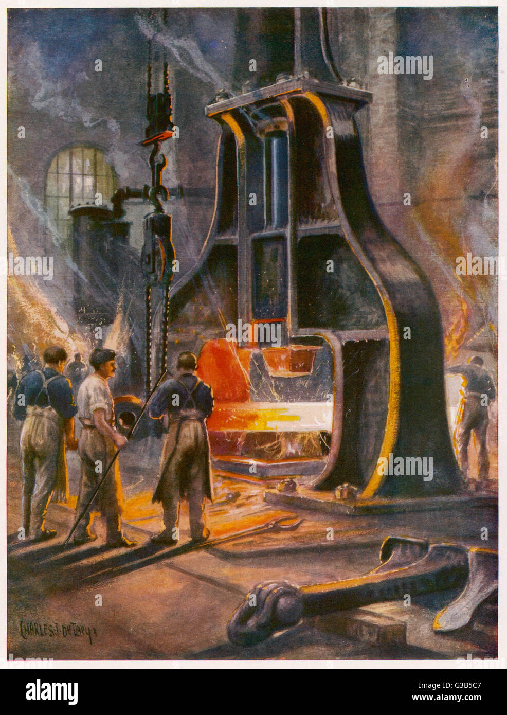 A steam hammer at work in a  British ironworks, making a  ship's anchor        Date: 1914-1918 - Stock Image