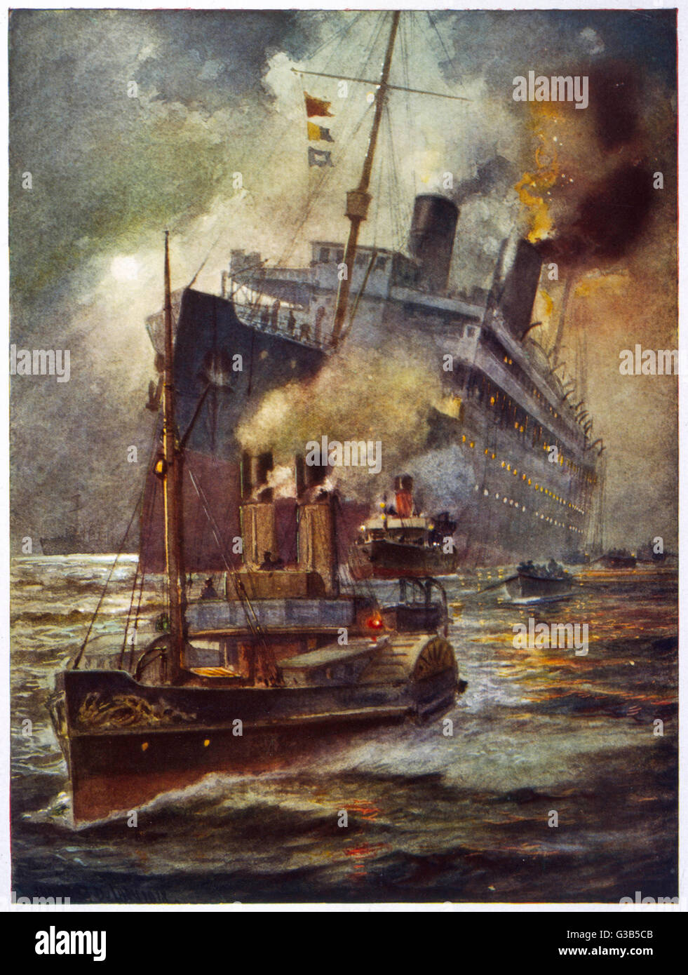 A torpedoed passenger  steamship is assisted into  port by tugs        Date: 1914-1918 - Stock Image