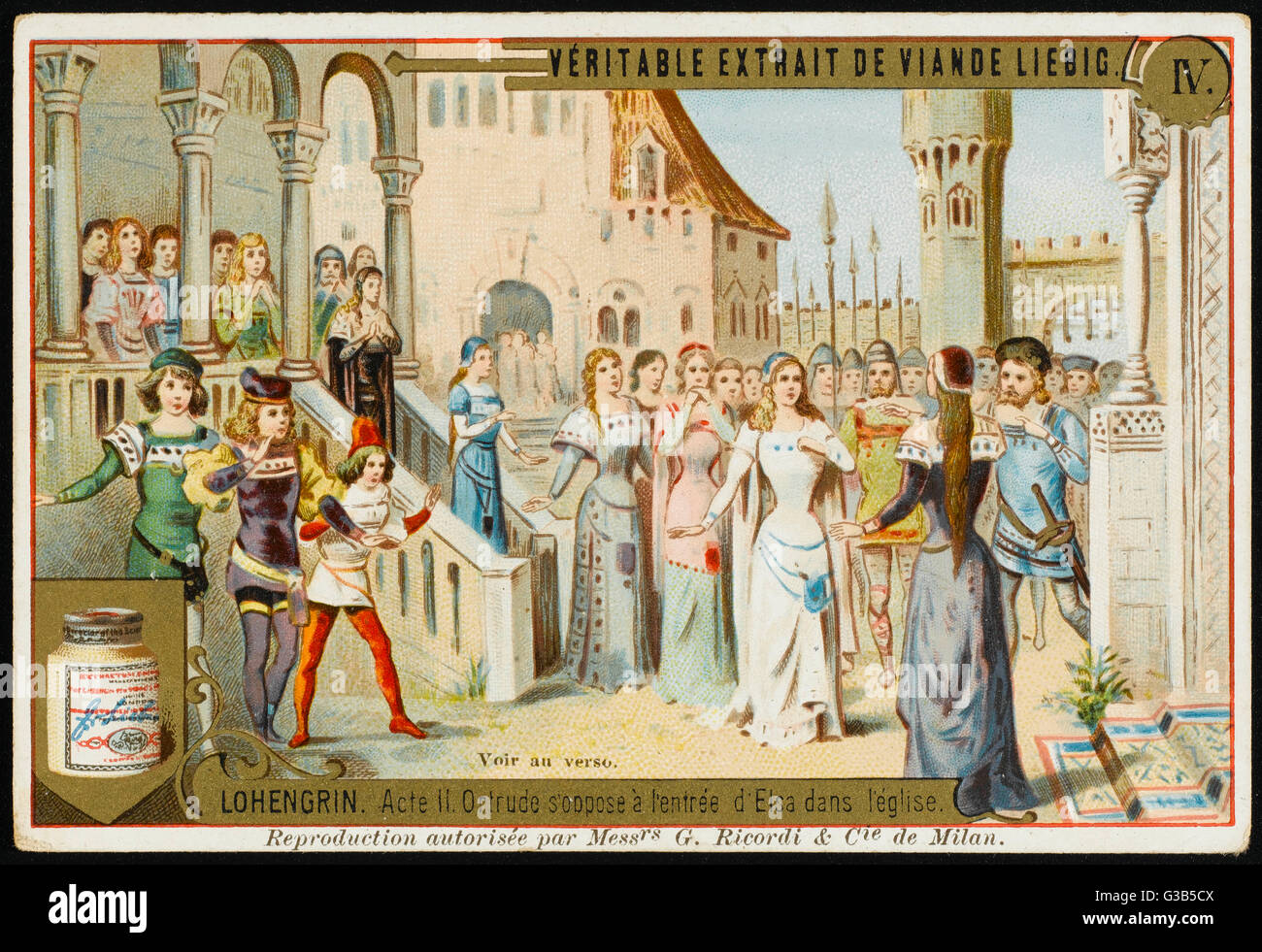 Ortrud denies Elsa entrance  to the church         Date: first performed 1850 - Stock Image