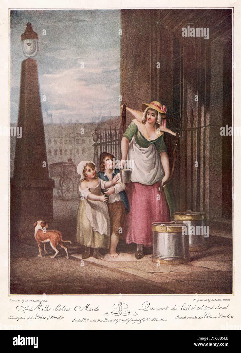 A London milkmaid cries 'Milk  below maids!'        Date: 1798 - Stock Image