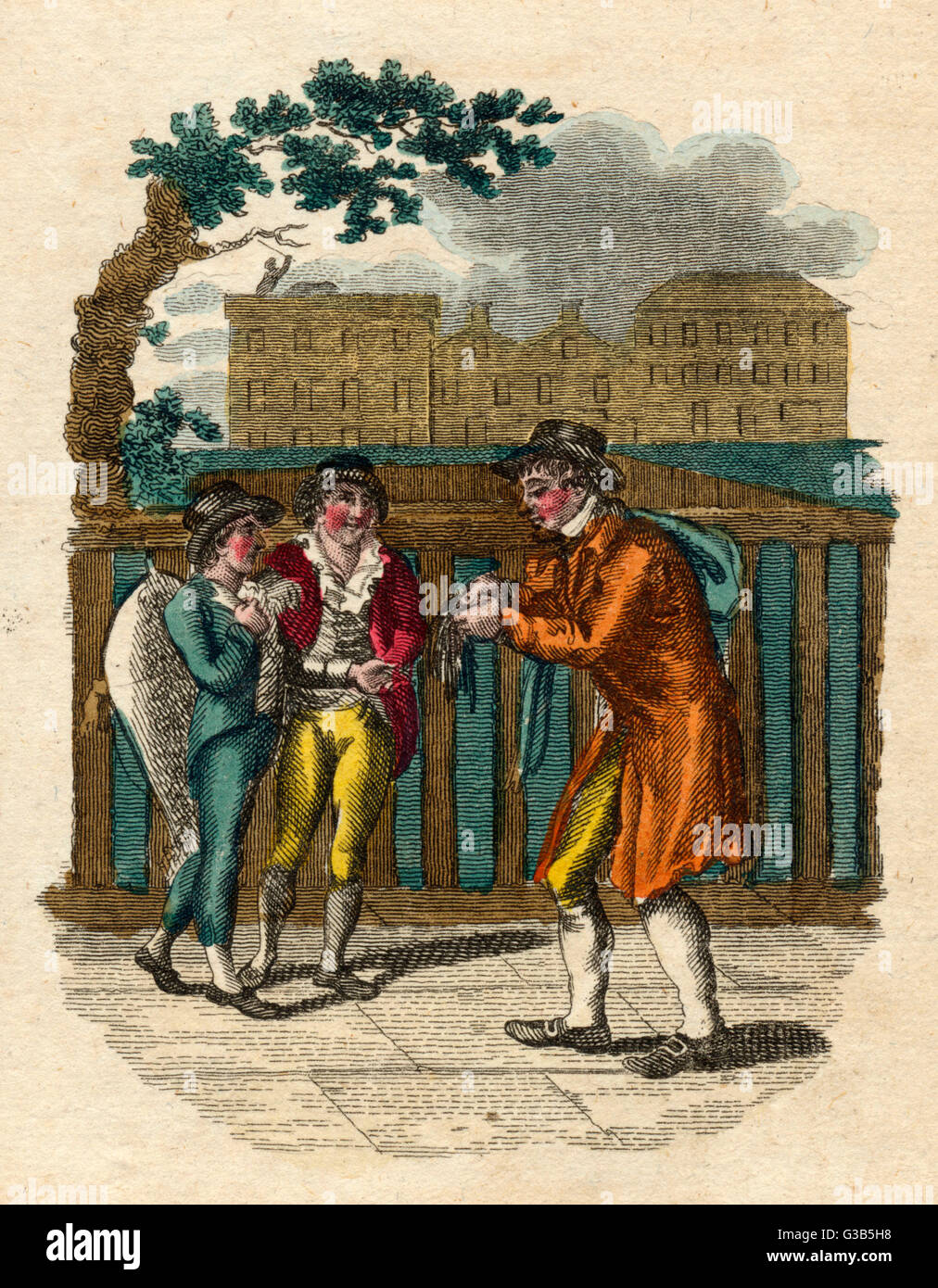 A man sells shoe-strings for  a penny a pair.        Date: 1804 - Stock Image