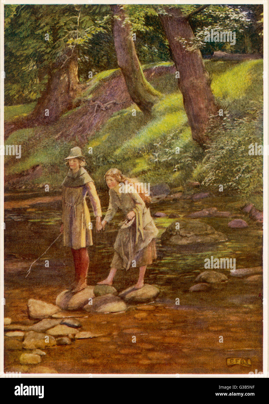 Rosalind and Celia, disguised  as Ganymede and his sister  Aliena, wander in the Forest  of Arden      Date: first - Stock Image
