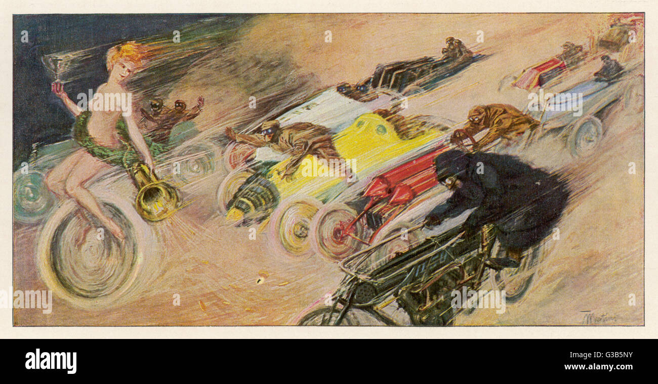 'THE CHASE !' A symbolic depicting of the  immense enthusiasm for motor  racing at this period when  cars - Stock Image