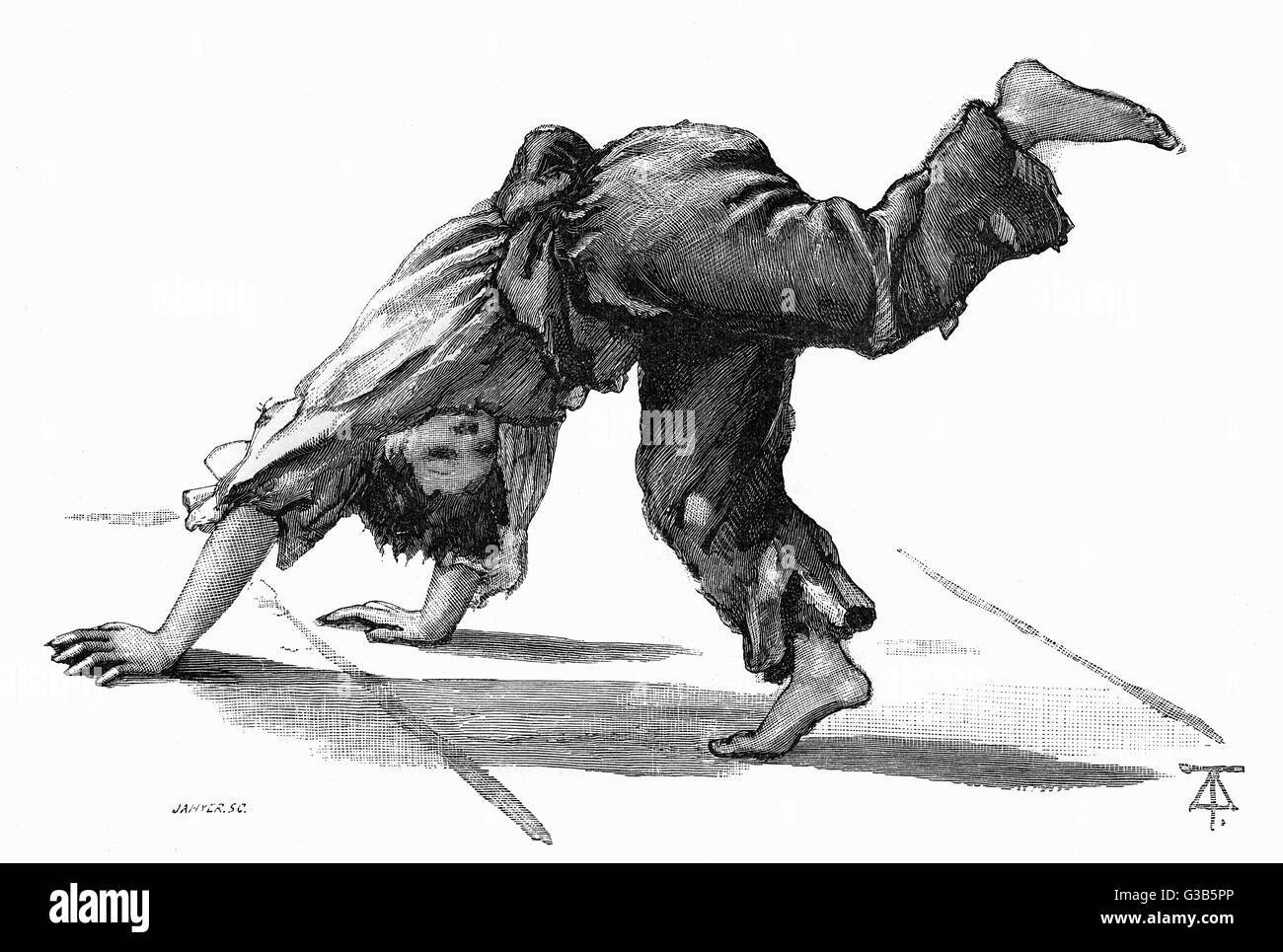 A London ragamuffin  performs a cartwheel        Date: 1884 - Stock Image