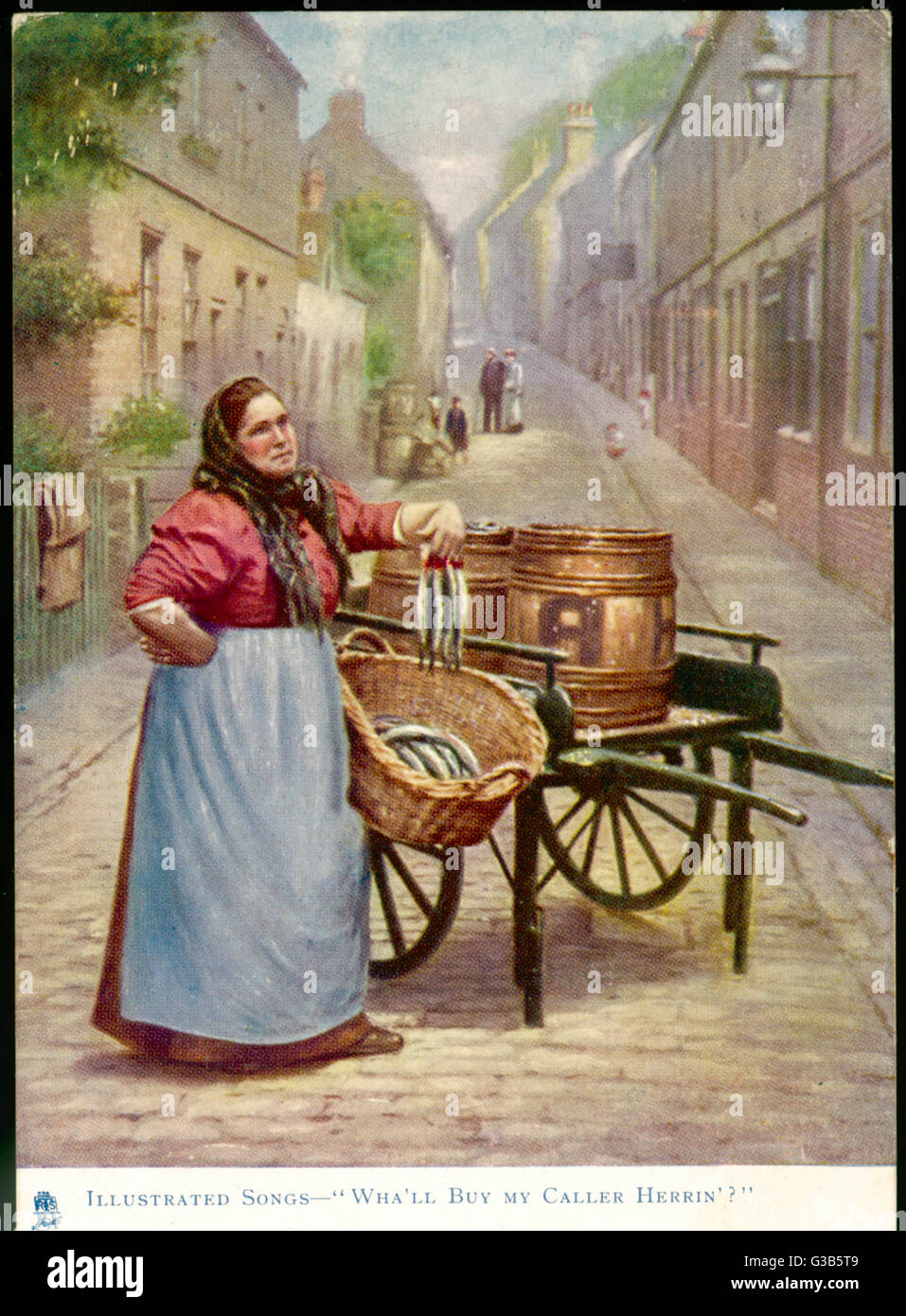 """Wha'll buy my caller herrin'"" cries the fish seller        Date: 1904 - Stock Image"
