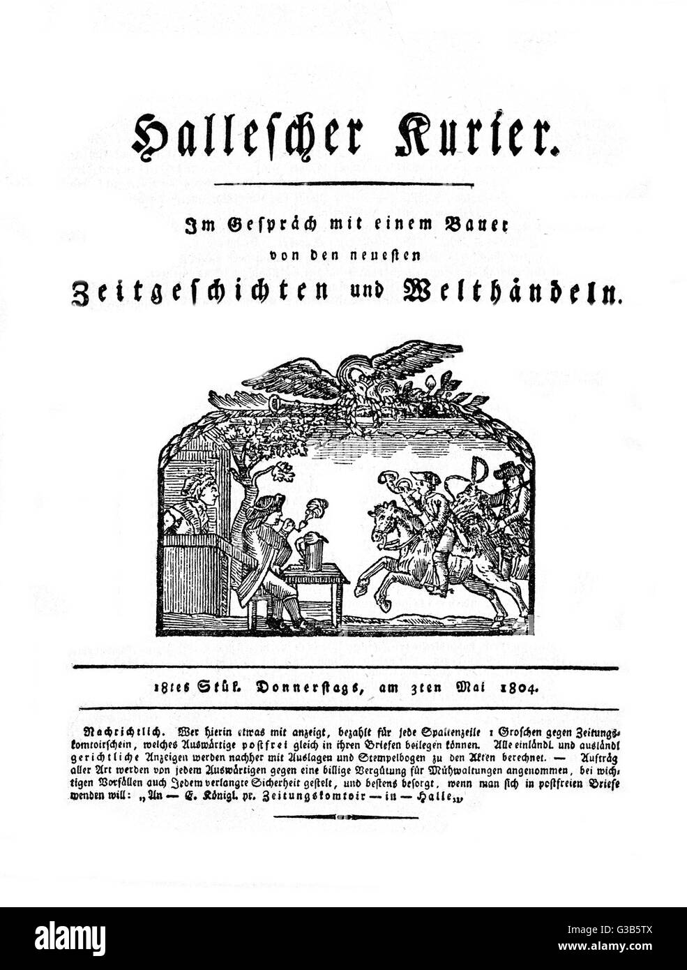 Front page of the HALLESCHE  KURIER, with a nice woodcut of  a courier blowing his horn as  he brings the news to - Stock Image