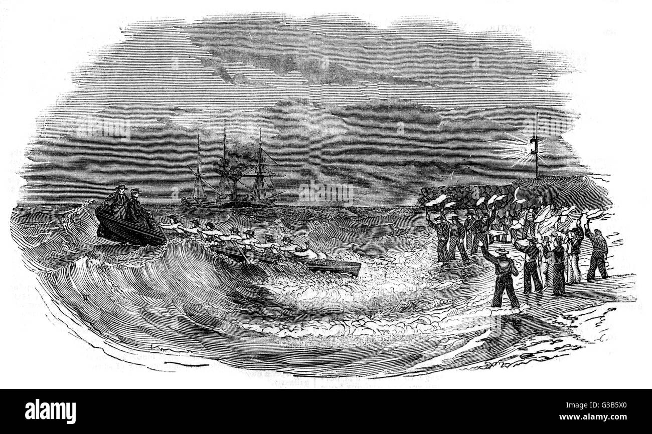 At low water the Indian mails  are landed from the steam  packet by rowing boat at  Folkestone.       Date: 1844 - Stock Image