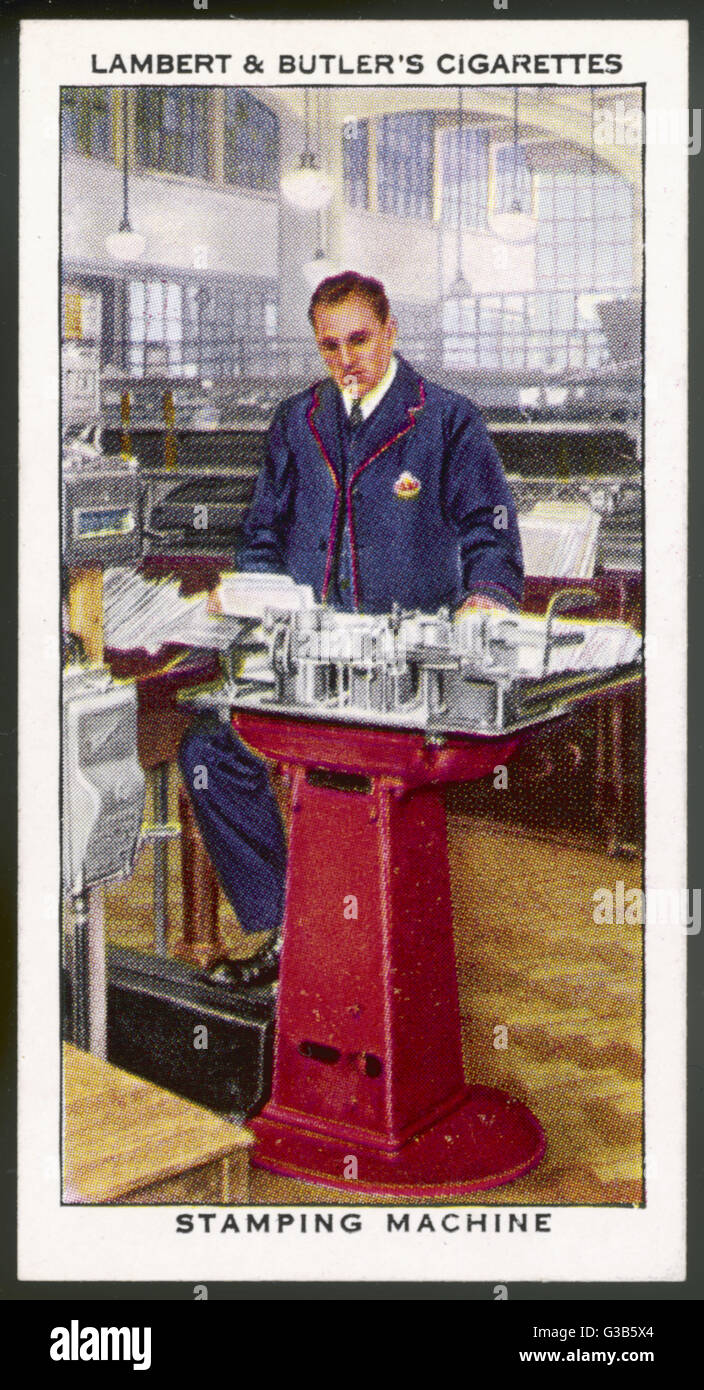 The General Post Office,  postmark stamping machine         Date: 1939 - Stock Image
