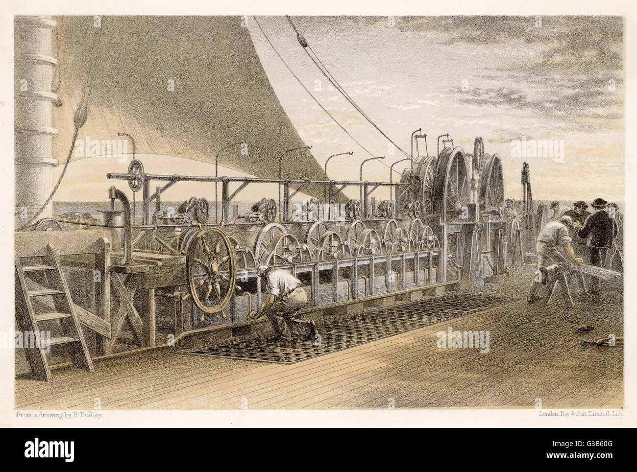 The paying-out machinery on  the deck of the 'Great Eastern' which meticulously  lowers the cable to the - Stock Image
