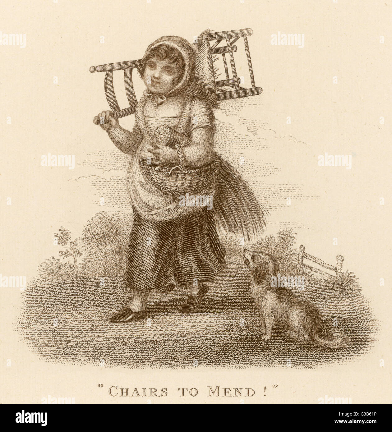 A girl with basket of reeds  and a chair over one shoulder  cries 'chairs to mend!'       Date: 1812 - Stock Image