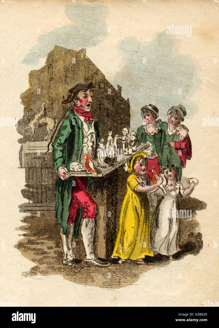 A street trader of 'fine  images'         Date: 1804 - Stock Image