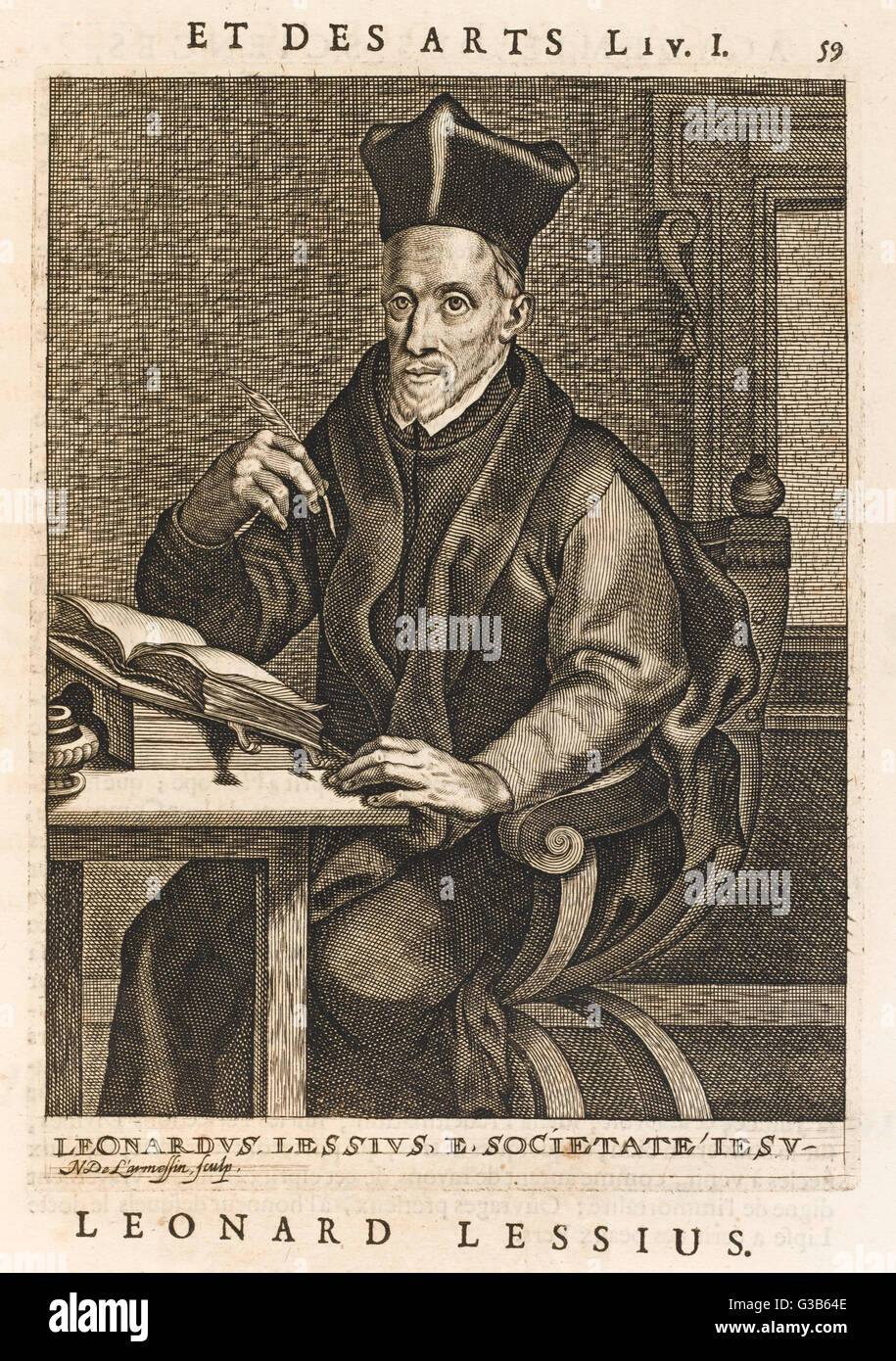 A scholar - Leonard Lessius, a  Jesuit, to be precise - pauses  quill in air while Larmessin  makes his portrait. - Stock Image