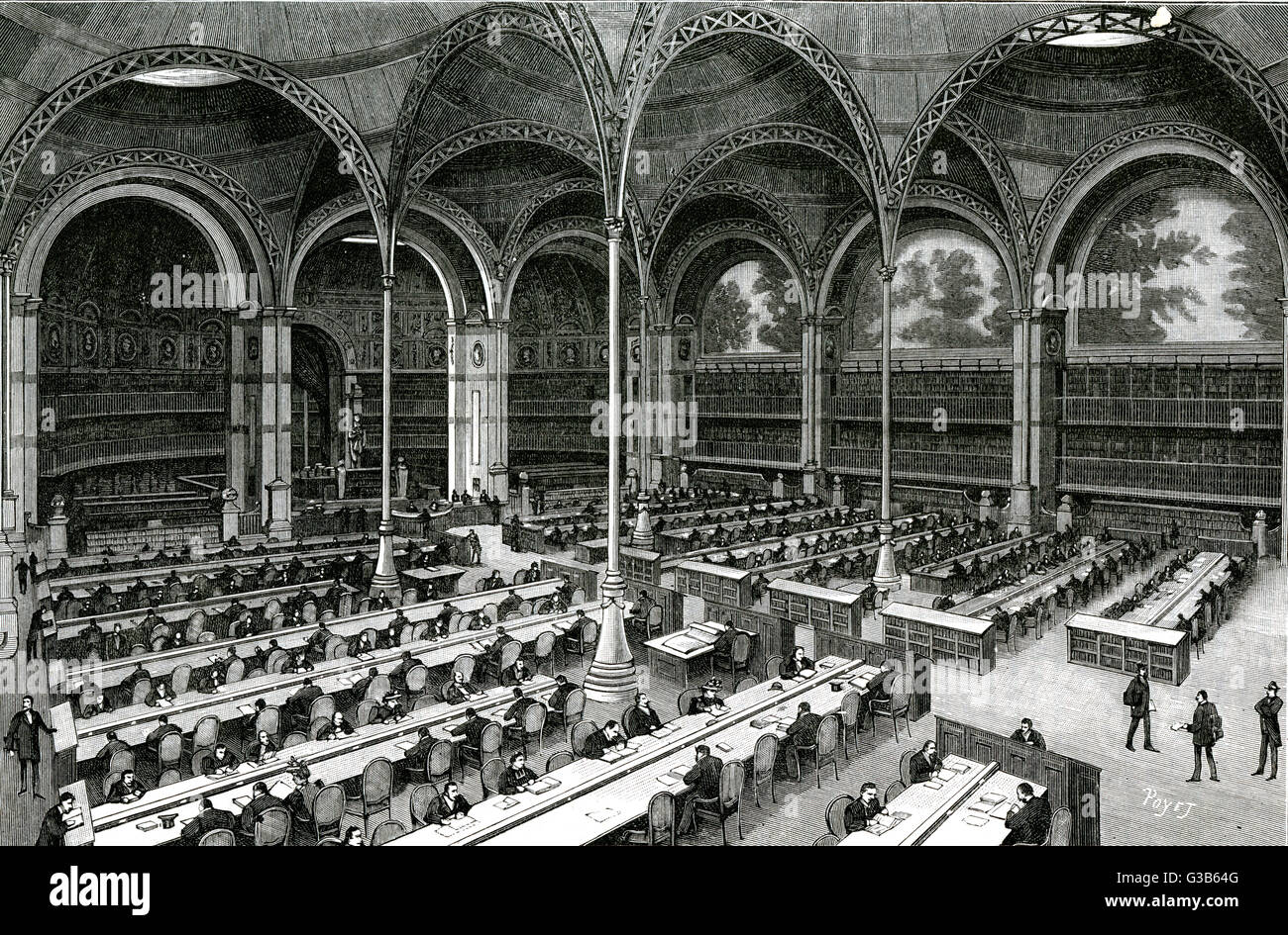 BIBLIOTHEQUE NATIONALE, Paris  Interior view of the Salle de  Travail         Date: 1893 - Stock Image