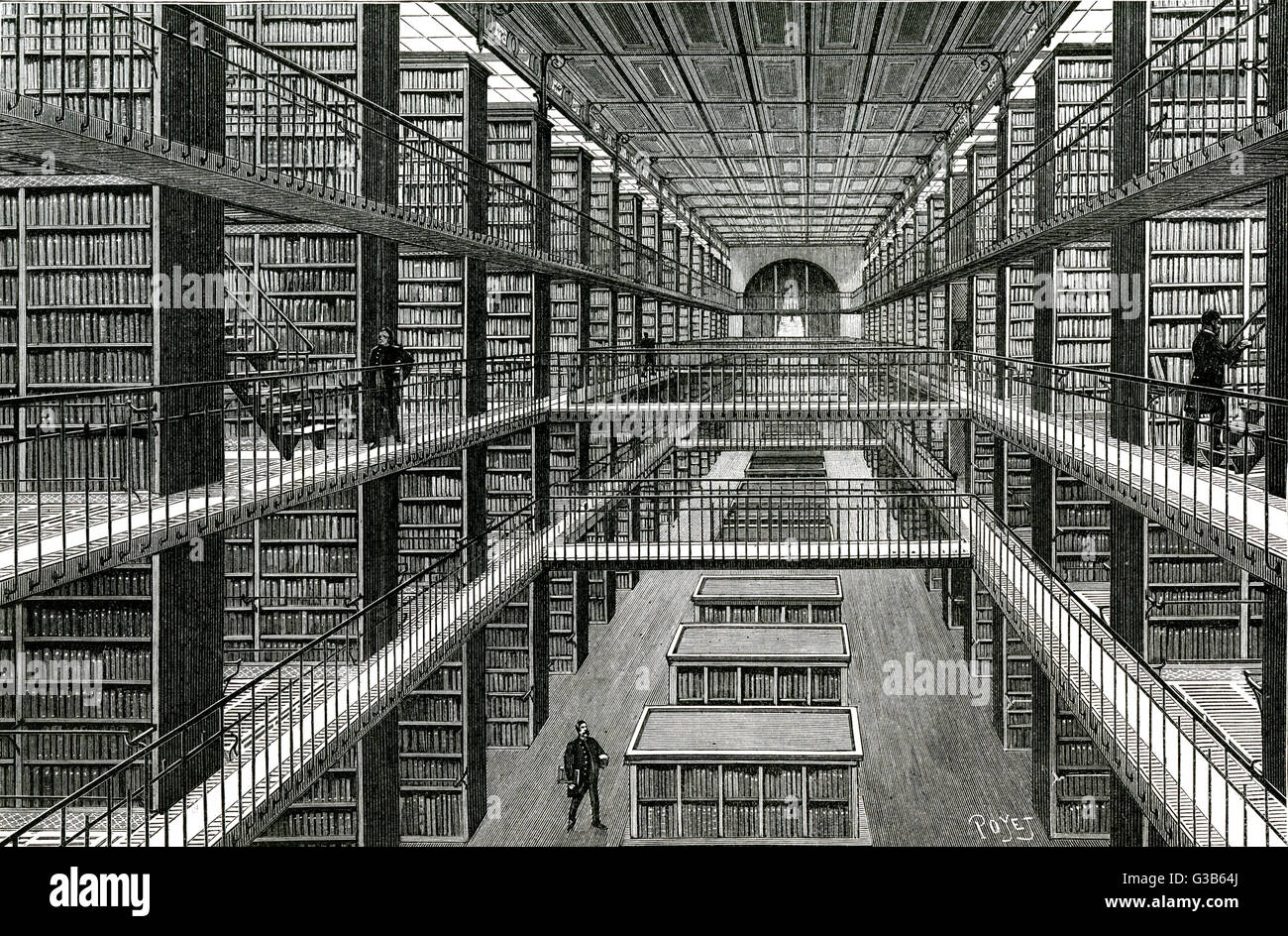 BIBLIOTHEQUE NATIONALE, Paris  Behind the scenes - the  'magasin central' where the  books are stacked : - Stock Image