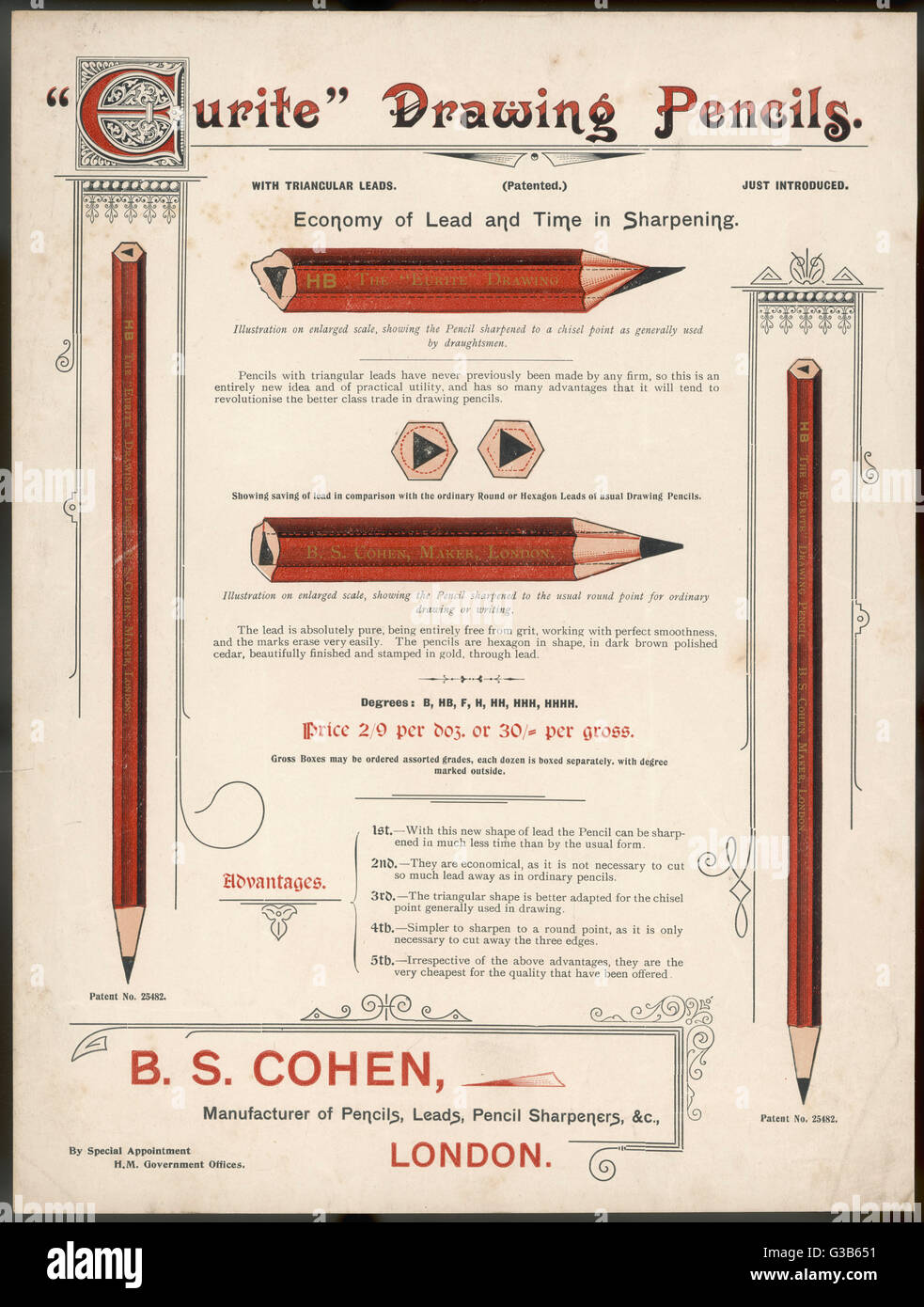 The 'Eurite' pencil has  a triangular lead which can  be sharpened so as to suit the  needs either of draughtsmen - Stock Image