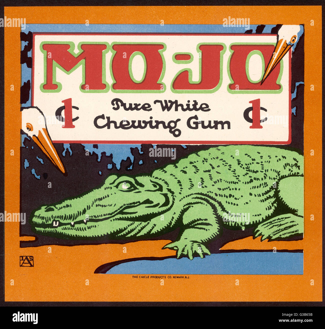 Mo-Jo pure white chewing gum, one cent,  apparently popular with crocodiles      Date: early 20th century - Stock Image