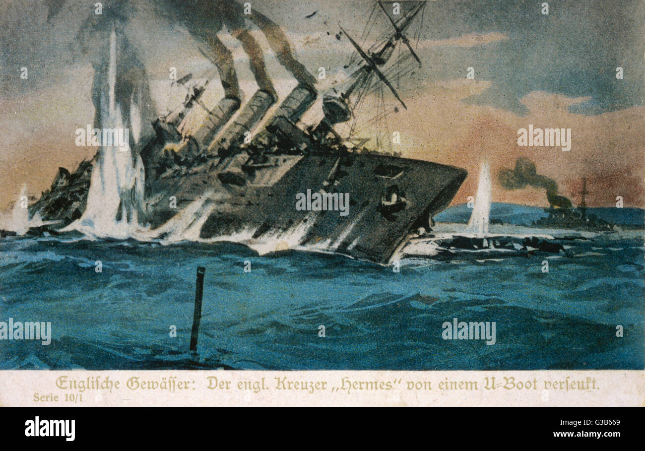 The British cruiser 'Hermes'  is torpedoed and sunk by a  German U-boat.        Date: 1914 ? - Stock Image
