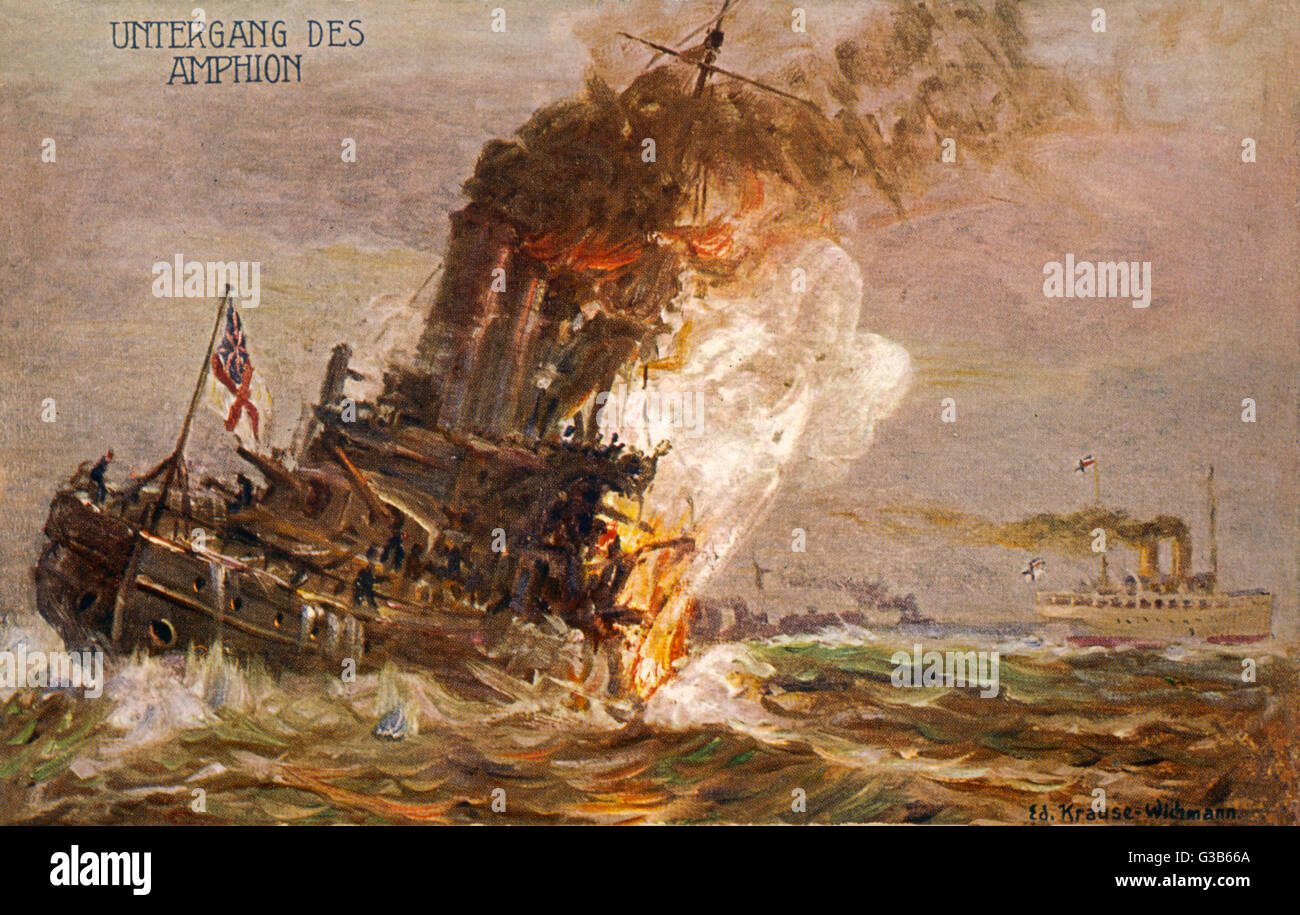 The British cruiser 'Amphion' is sunk by a mine in the  Thames estuary while attacking  the 'Konigin - Stock Image
