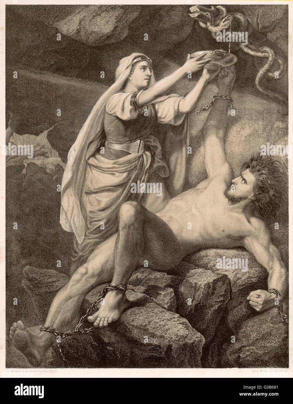 To Punish Loki the Aesir (the  gods) chained him beneath a  snake so that its venom would  drip onto him. His wife - Stock Image
