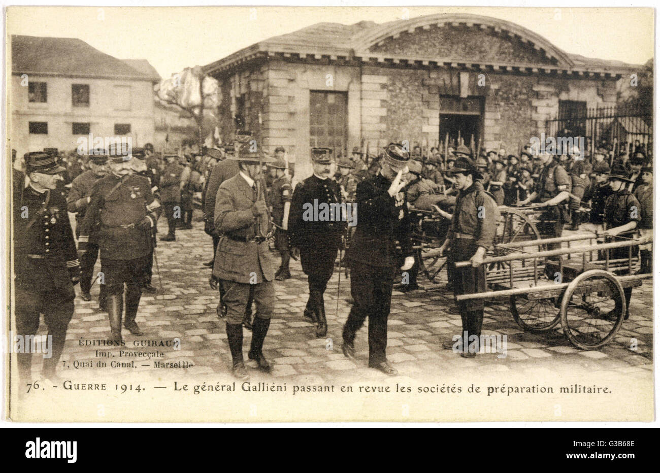 French military commander  GALLIENI reviews organisations  involved in the preparations  for war.       Date: 1914 - Stock Image