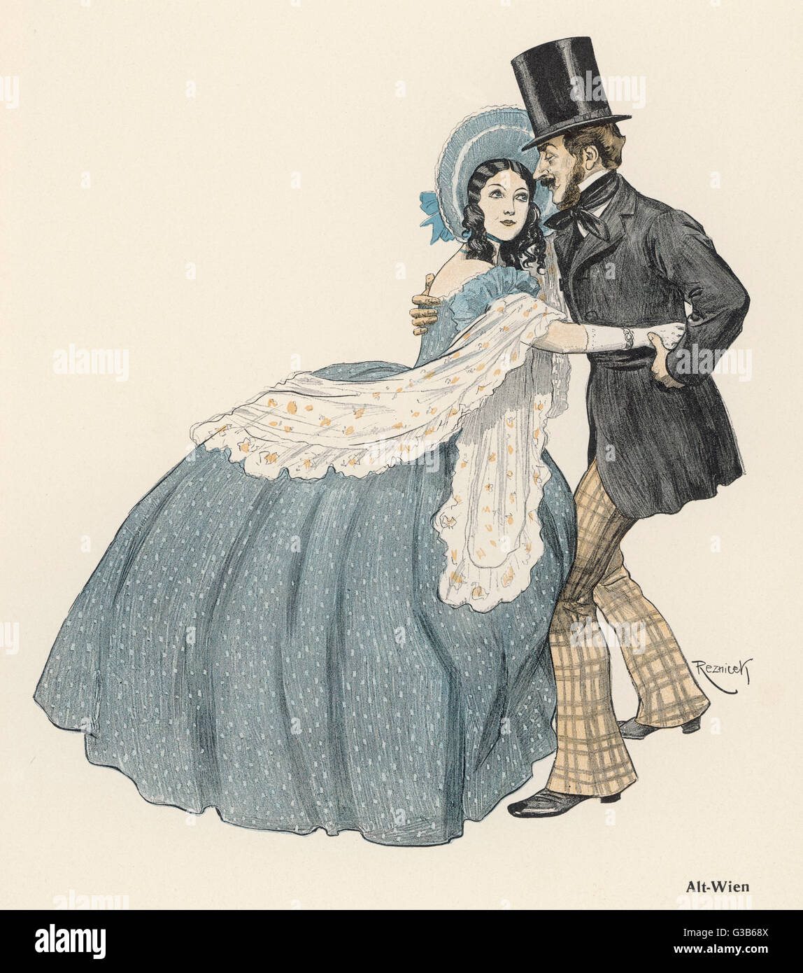 'Alt Wien' A romantic couple manage to  dance together in old Vienna,  despite the emcumbrance of her crinoline - Stock Image
