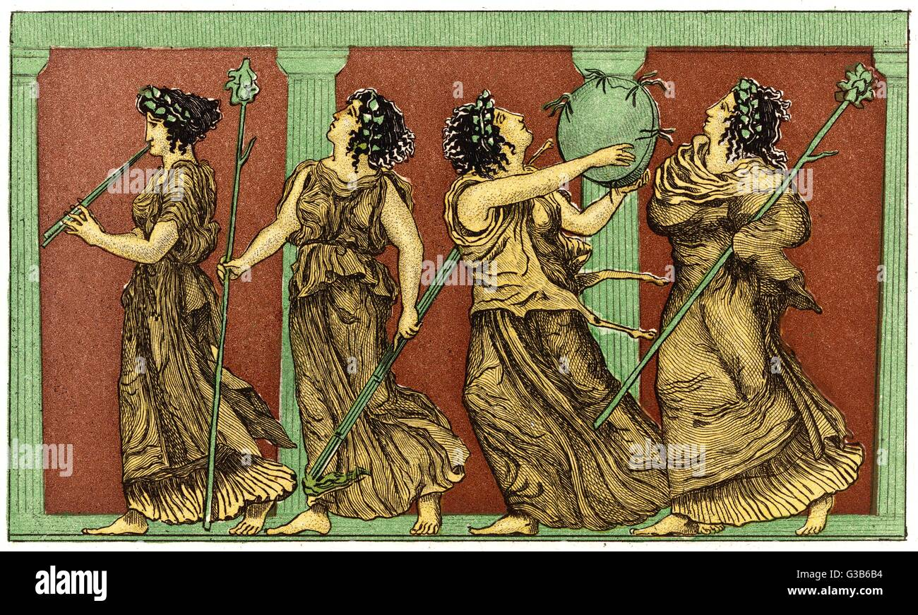 Four female dancers : each  carries a thyrsus, and one a  tambourine as well. Stock Photo