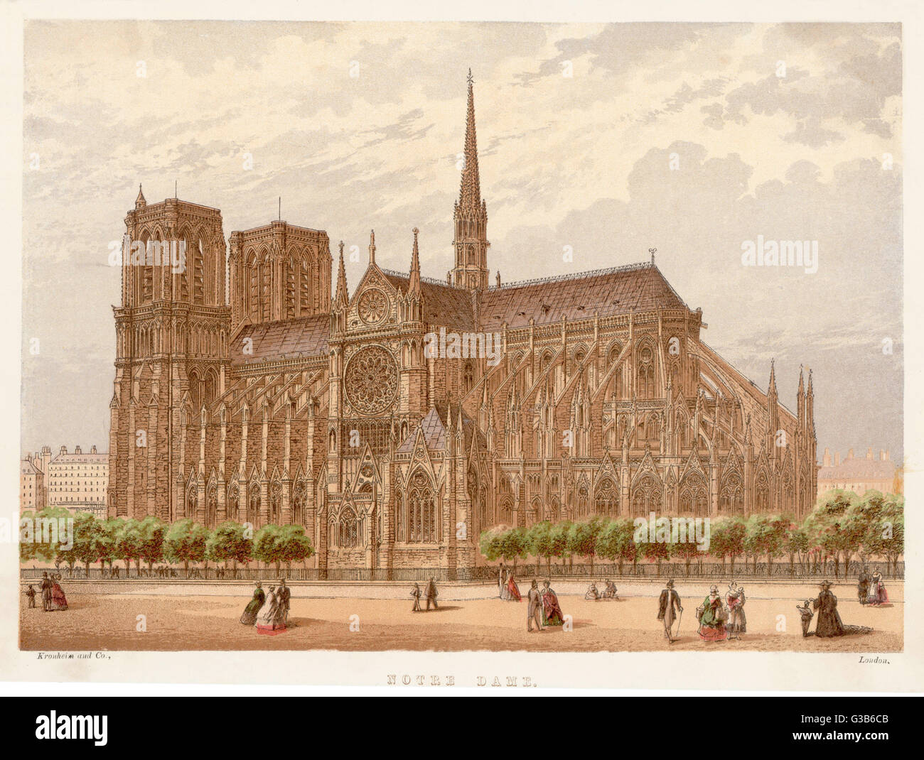 Notre Dame de Paris,  in all its gothic splendour        Date: circa 1870 - Stock Image