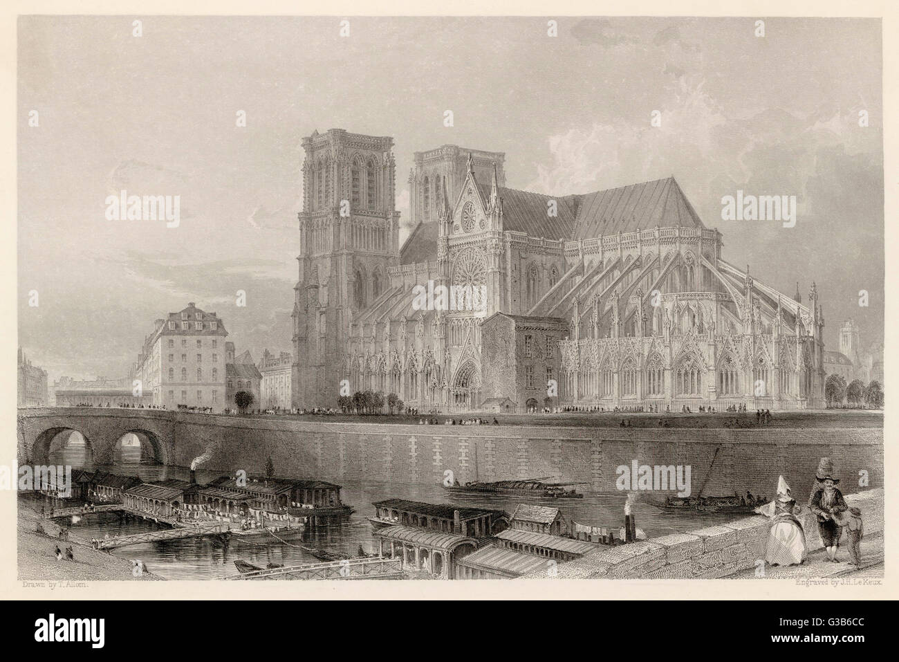 Notre Dame de Paris,  before the addition  of the spire       Date: circa 1835 - Stock Image