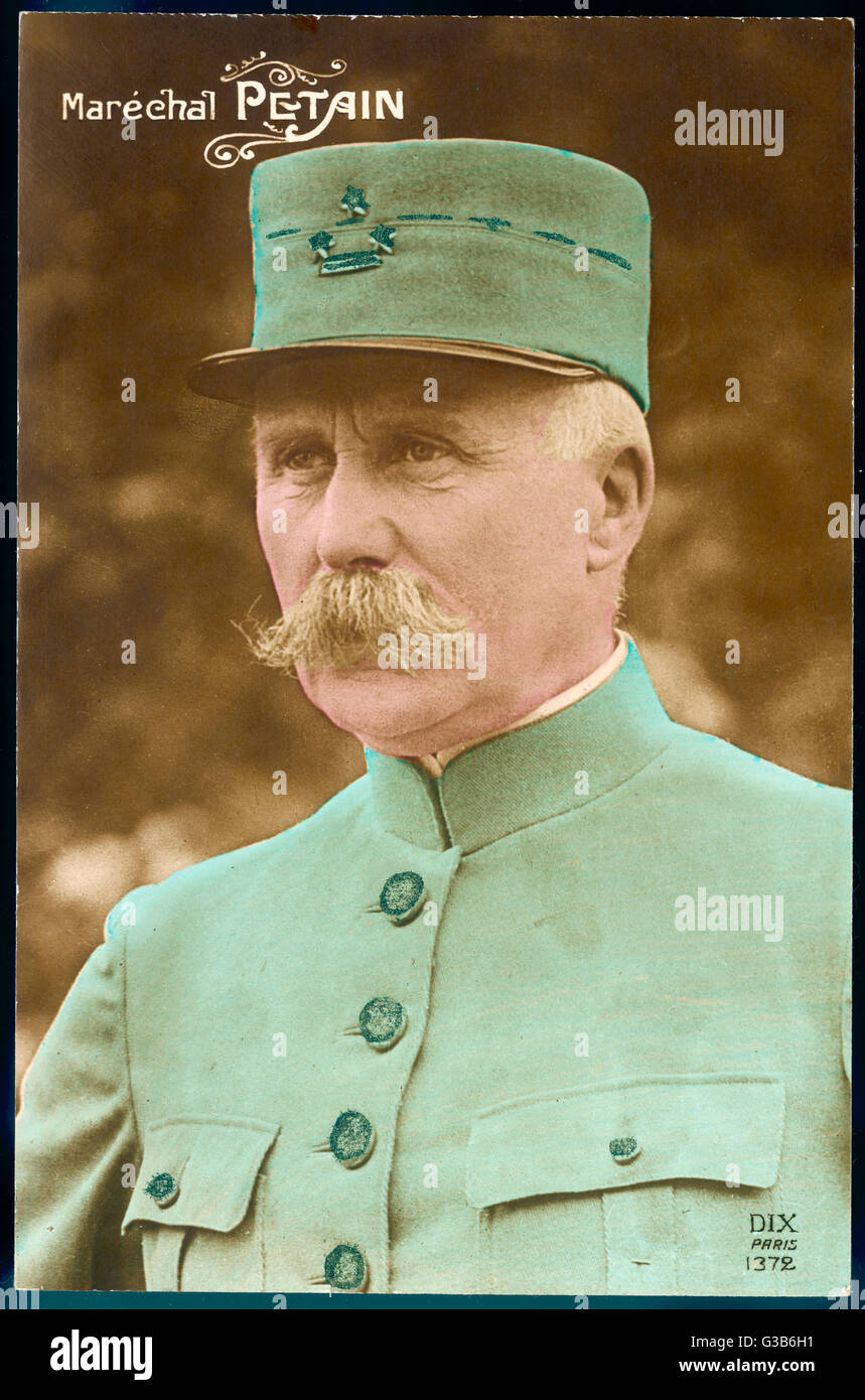 PHILIPPE PETAIN  French military, at the time  of his glory during World War  One.      Date: 1856 - 1951 - Stock Image