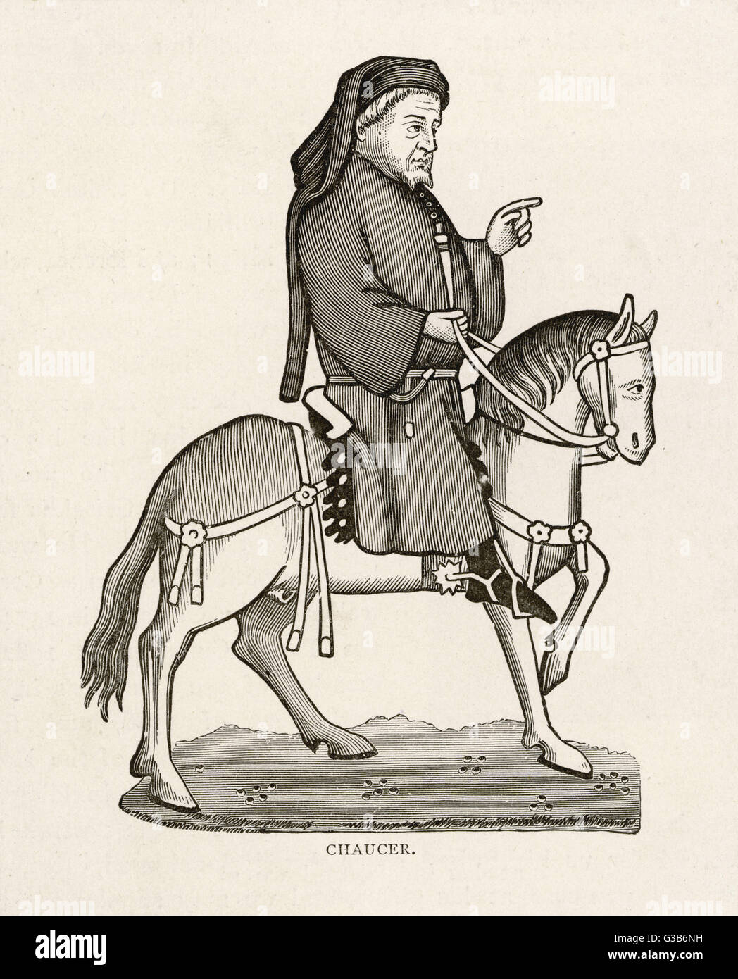 Chaucer depicted as the narrator of the Tales        Date: First published: circa 1387 - Stock Image