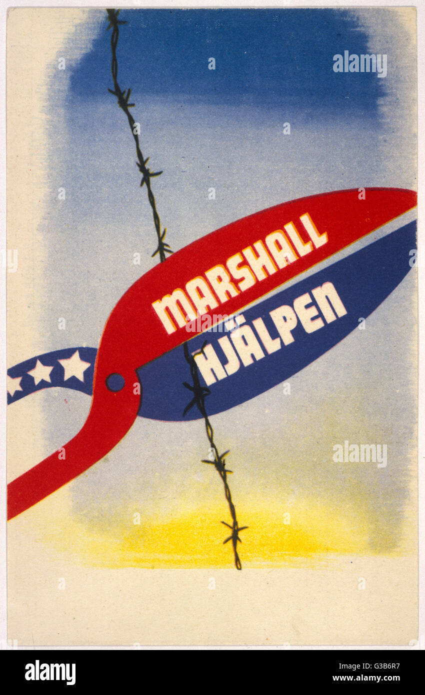 THE MARSHALL PLAN The European Recovery  programme whereby the U.S.A.  gives 13 000 billion dollars of  aid to Europe, - Stock Image