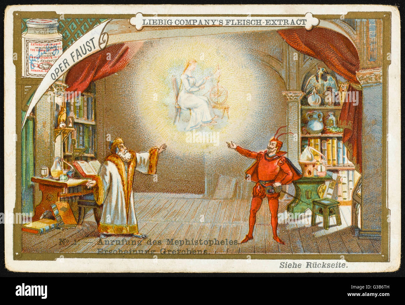 'FAUST' Mephistopheles, summoned  by Faust, shows him a vision  of Marguerite, whereupon he  signs a pact - Stock Image