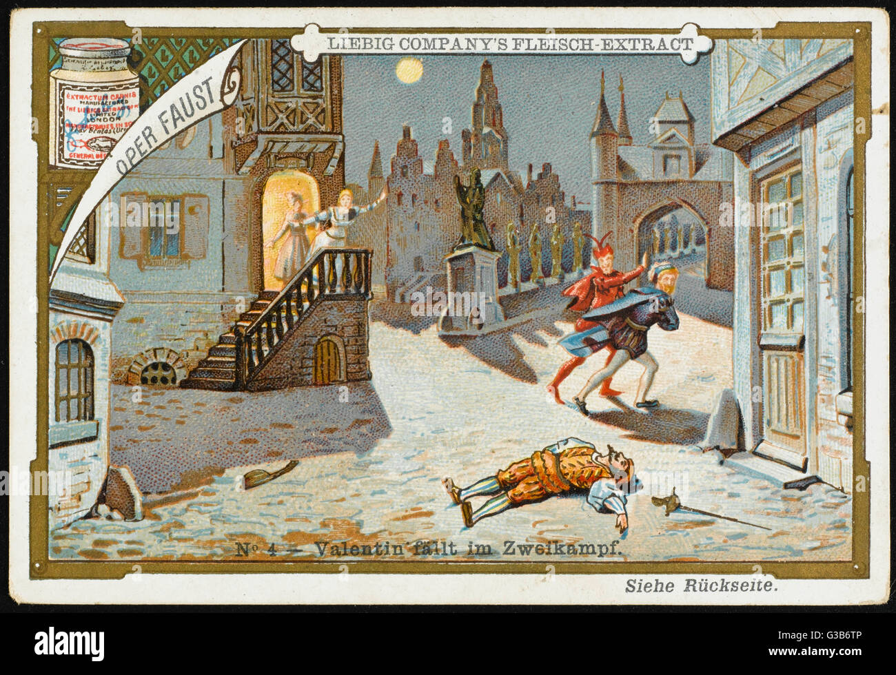 'FAUST' Faust fights Marguerite's  brother Valentin, and  Mephistopheles directs a fatal  stroke.   - Stock Image