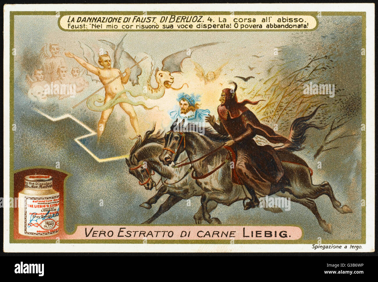 Mephistopheles and Faust ride  towards the abyss - demons  line the route...       Date: first performed 1846 - Stock Image