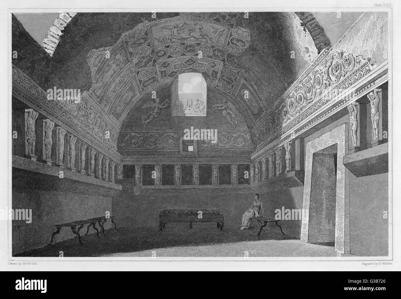 A view of the excavated  Tepidarium (warm room) from  the Forum baths at Pompeii,  which boasts elaborate wall  - Stock Image