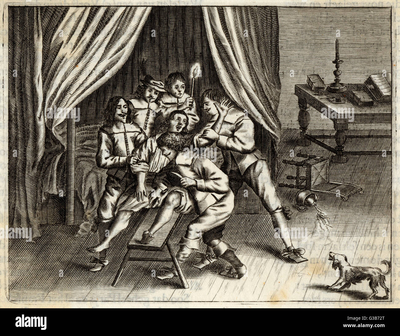 A patient is pinned down and  involuntarily castrated         Date: Seventeenth century - Stock Image
