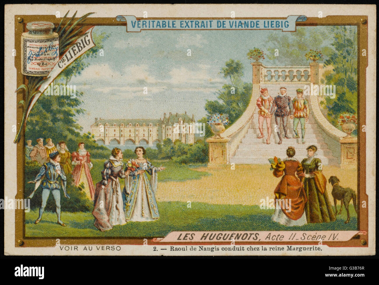 Act 2 scene 4 - the Huguenot  Raoul de Nangis is conducted  to meet queen Marguerite de  Valois in the gardens of - Stock Image