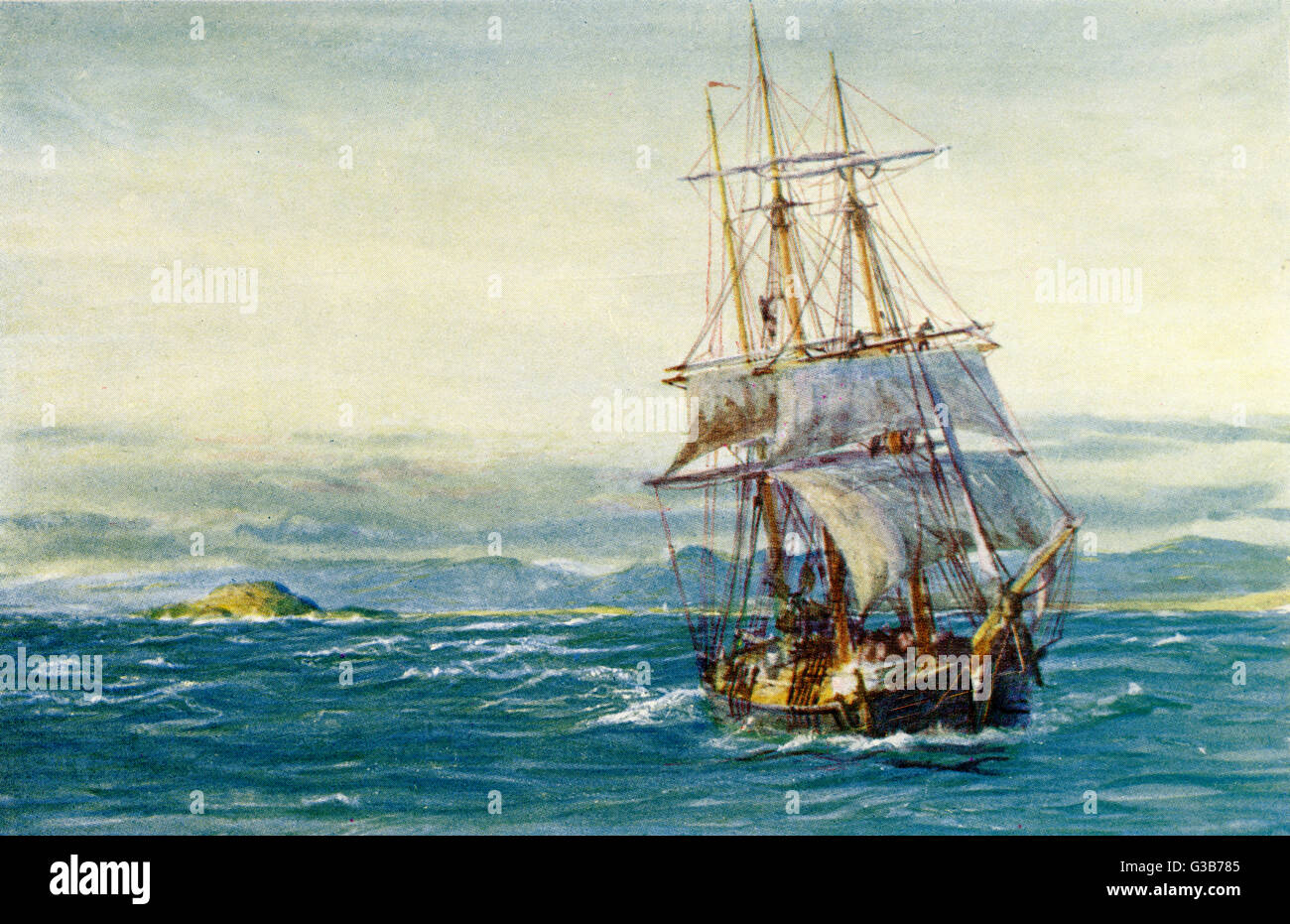Stavanger:  timber barque off the coast       Date: 1909 - Stock Image
