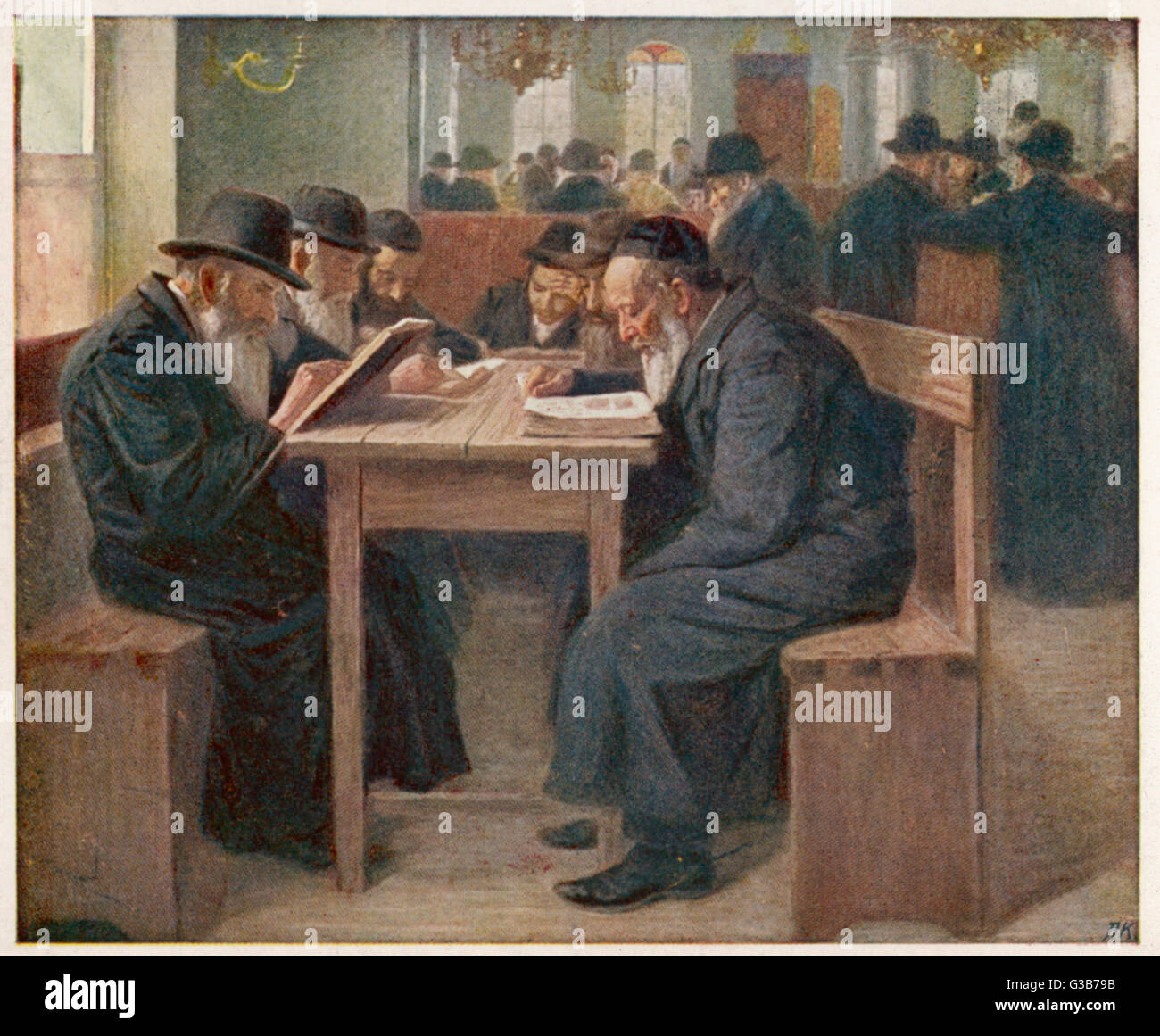 Jews studying the Talmud, a  compilation of ancient Jewish  law and tradition : probably  in the Netherlands.   - Stock Image