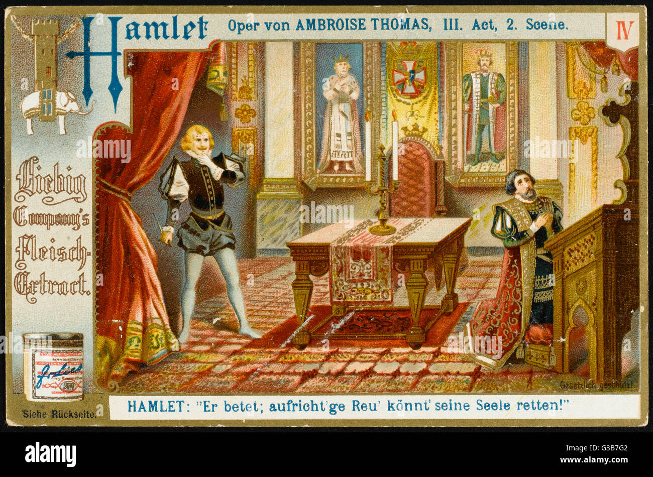 Act 3 scene 2 : Hamlet finds  Claudius at prayer, and is  reluctant to kill him when he  is in a state of grace. - Stock Image
