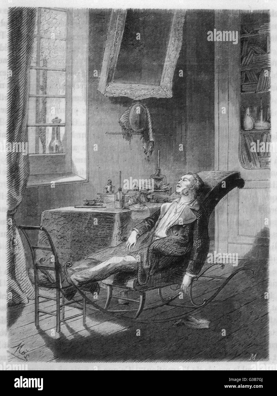 Charles Jackson experiments  on himself with sulphuric  ether        Date: 1842 - Stock Image