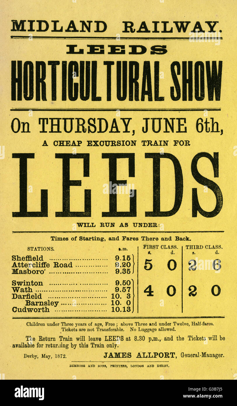Flyer issued by the Midland  Railway announcing a Cheap  Excursion Train from Sheffield  to Leeds for the Leeds - Stock Image