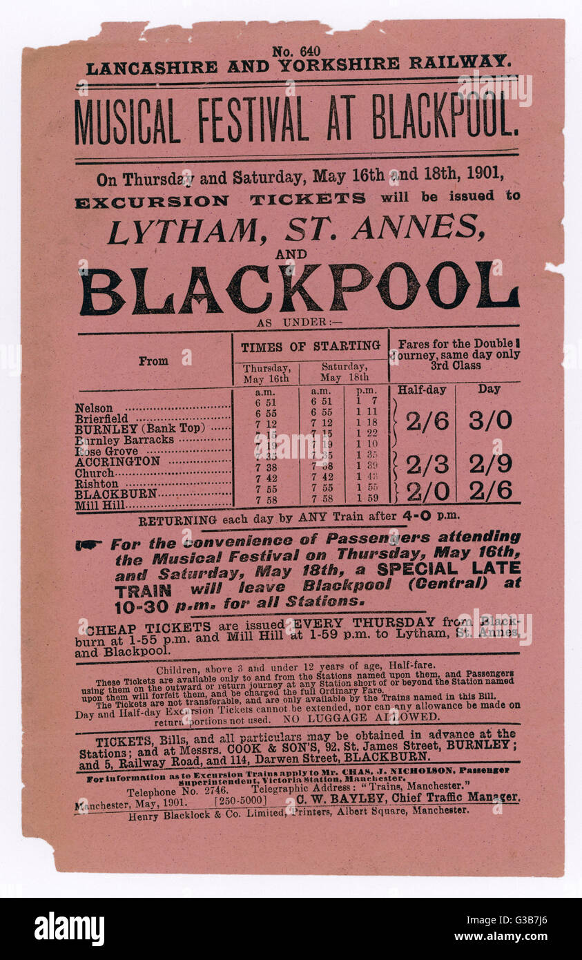 Flyer issued by the Lancashire  and Yorkshire Railway  announcing Excursion Trains to the Musical Festival at  Blackpool, - Stock Image