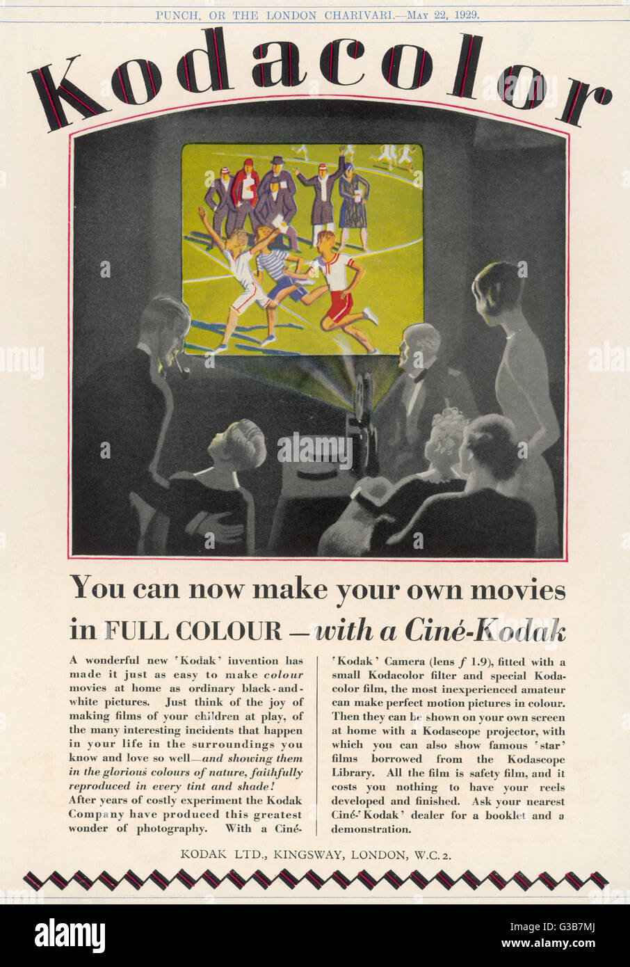 'You can make your own movies  in FULL COLOUR - with a Cine- Kodak'        Date: 1929 - Stock Image