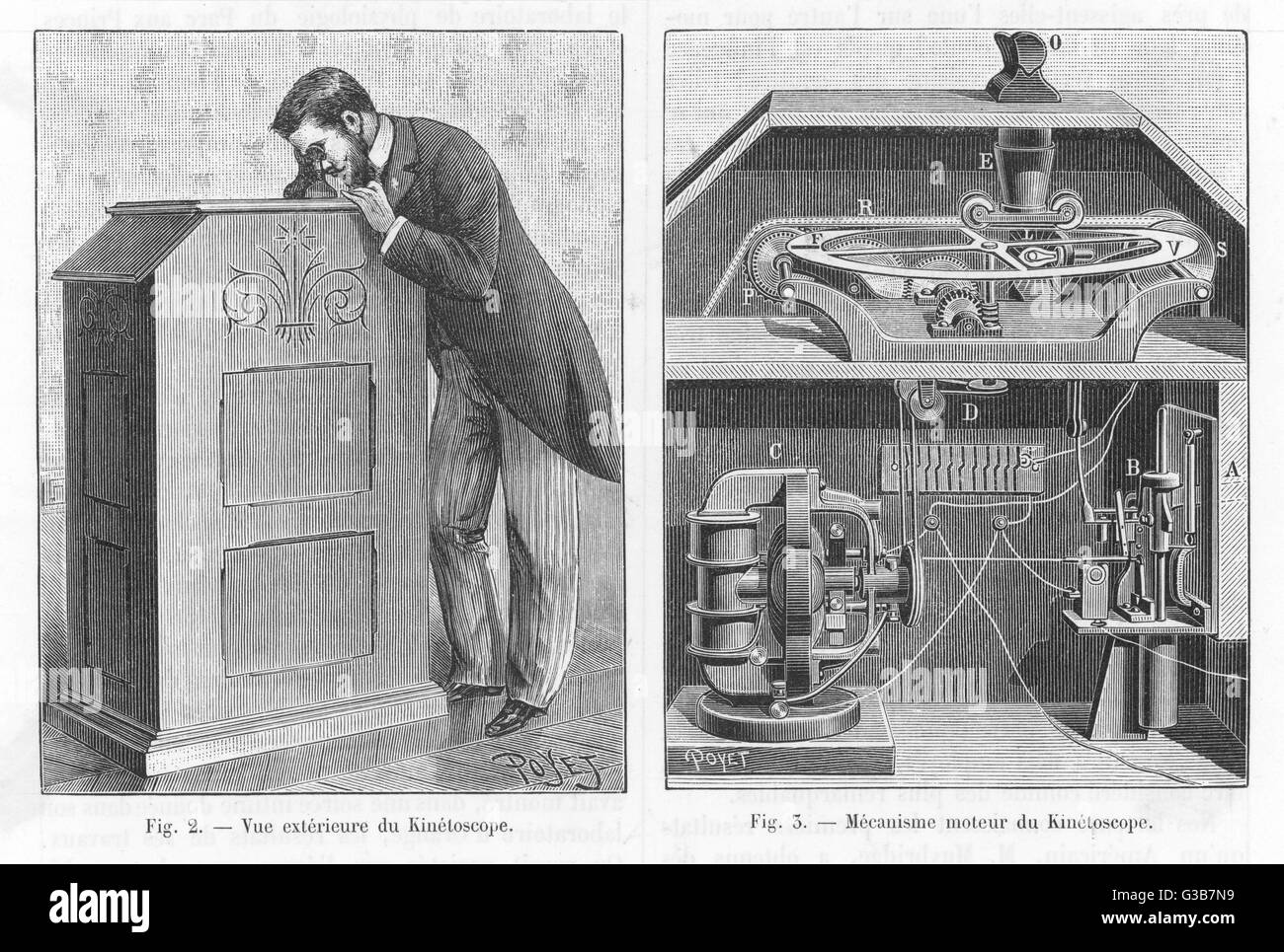 """EDISON'S KINETOSCOPE """"Reproducing to the eye the effect of human motion by  means of a swift and graded - Stock Image"""