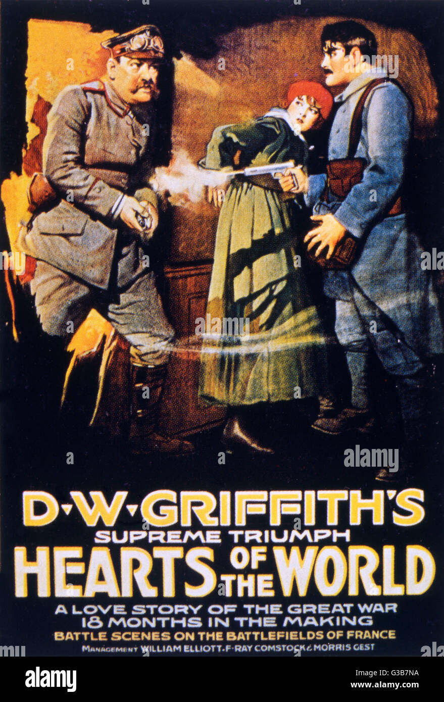 Poster for 'HEARTS OF THE  WORLD', directed by D W  Griffith, starring the two  Gishes and including Stroheim - Stock Image