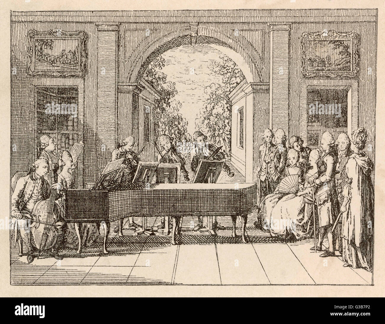Five instrumental performers  and a singer entertain an  aristocratic audience in a  stately home.       Date: circa - Stock Image