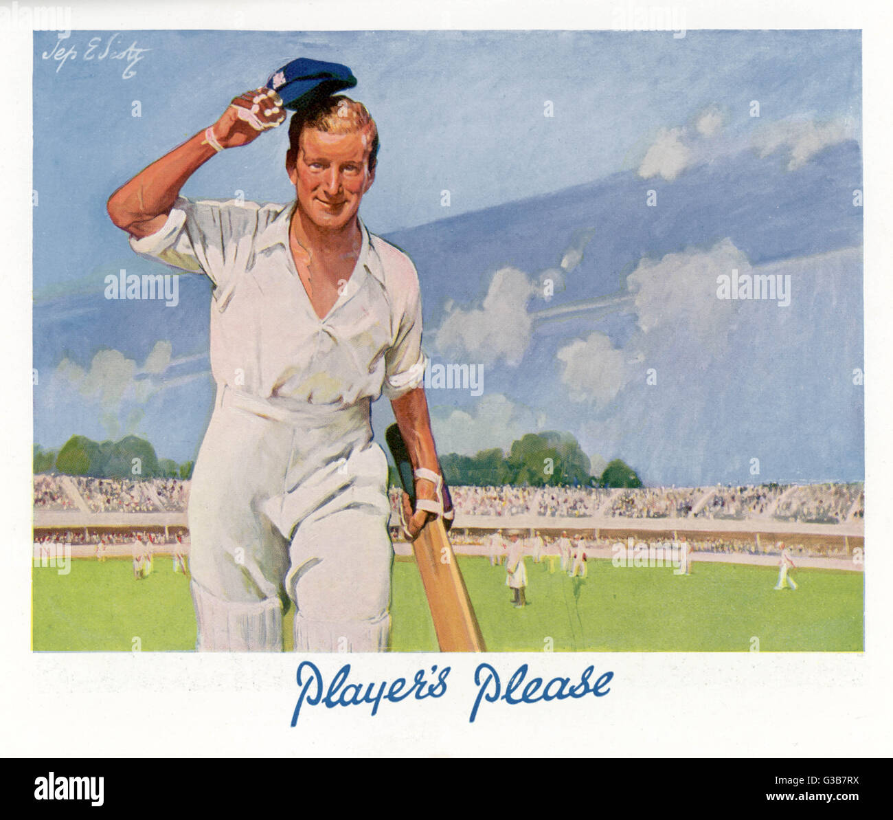 cdfceaff A cricket player raises his cap as he retires from the pitch. Date: 1929